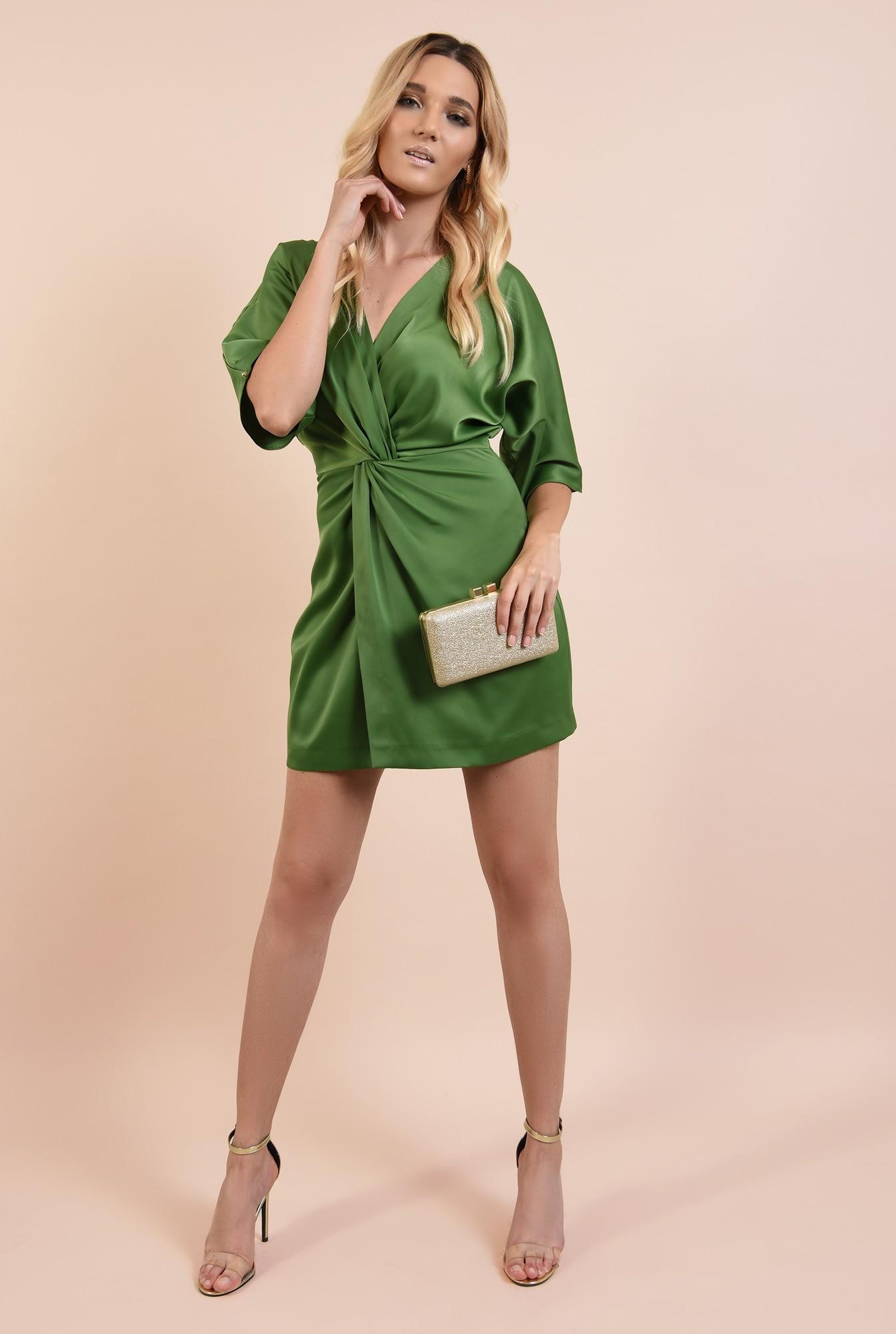3 - rochie eleganta, verde, din satin, anchior petrecut, talie drapata