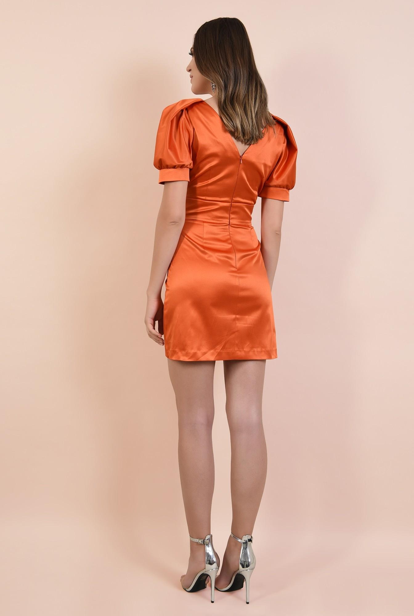 1 - rochie de seara, orange, tafta de bumbac, maneci fantezie, lungime mini