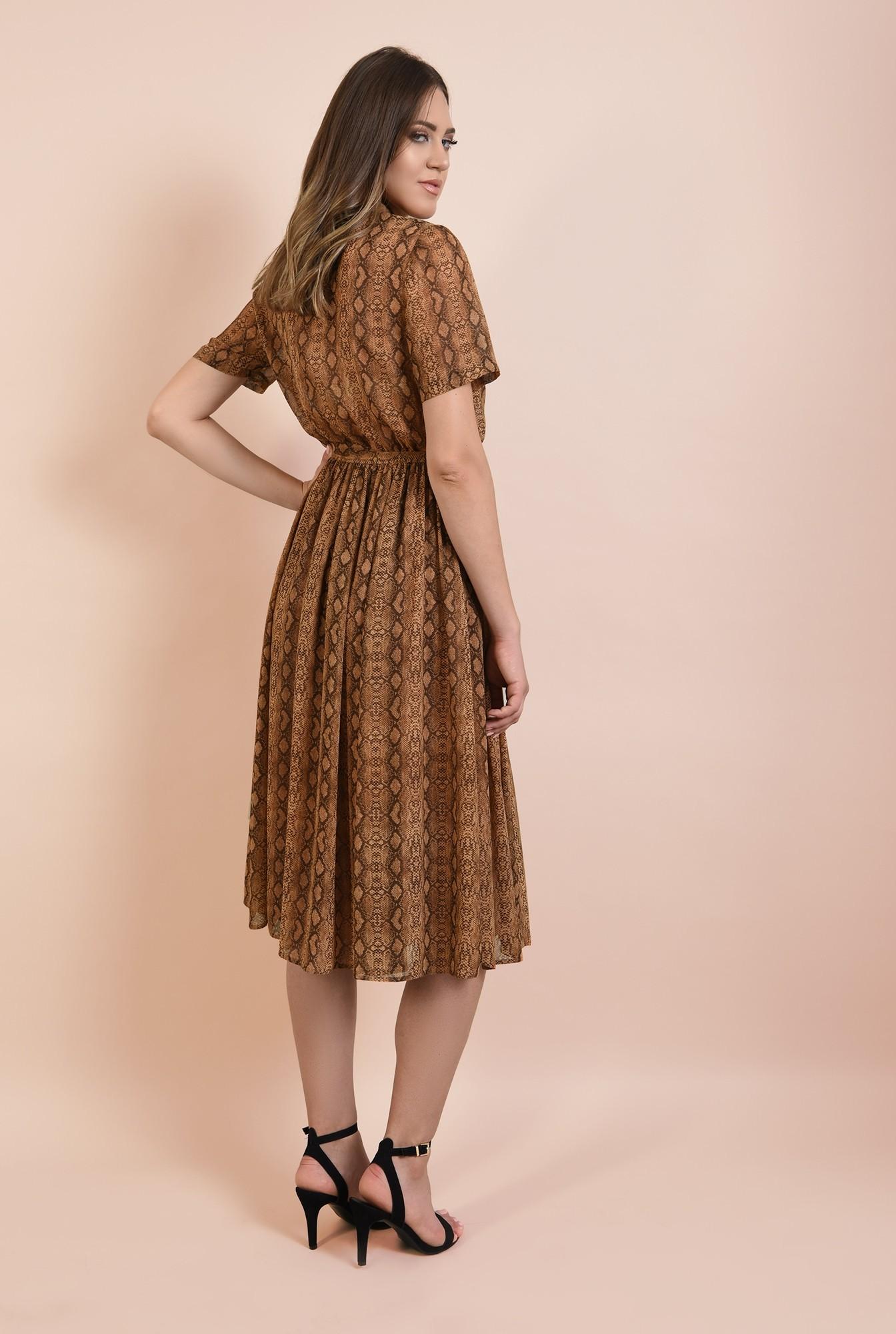 1 - rochie casual, evazata, din voal imprimat, cu guler ascutit, maneci scurte, Poema