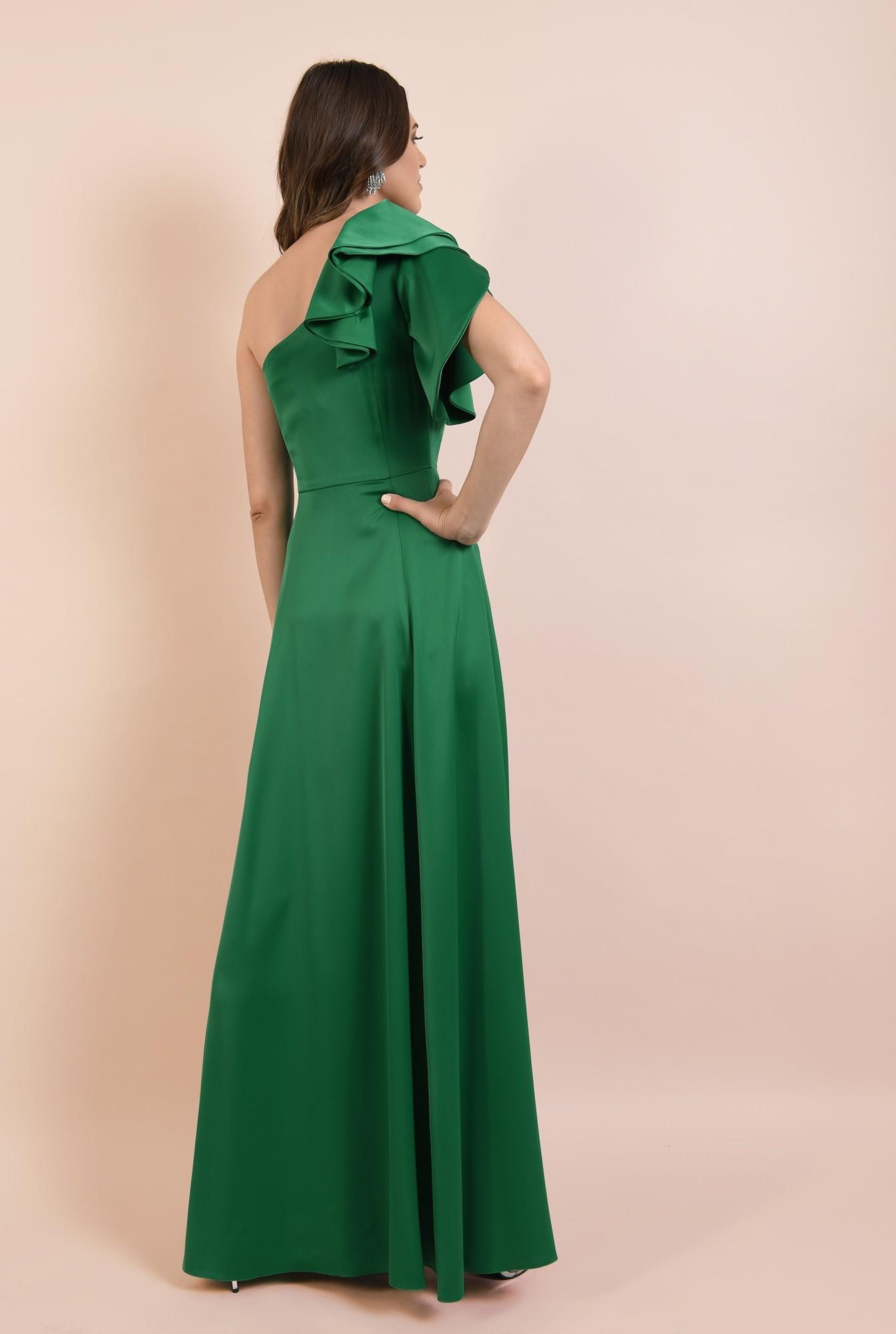 1 - rochie de ocazie, lunga, verde, cu crapeu, cu volane la umar, maneca lalea