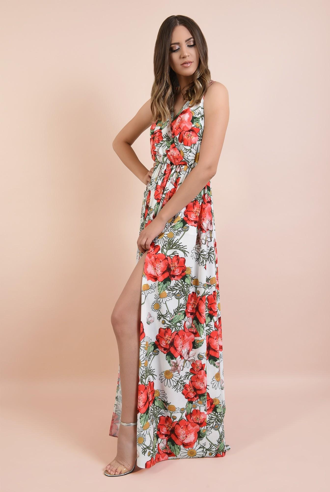 3 - rochie de seara, cu crapeu, imprimeu floral, decolteu in V, Poema