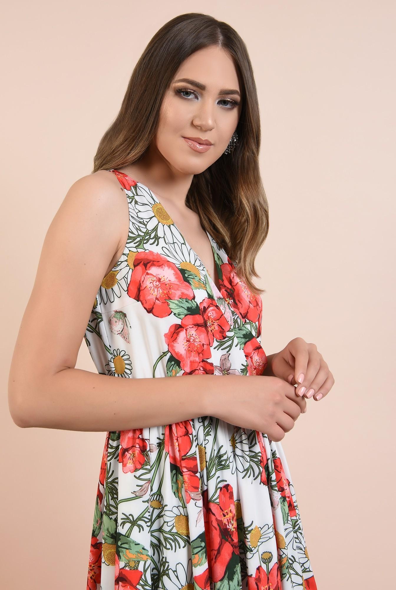 2 - rochie de seara, cu crapeu, imprimeu floral, decolteu in V, Poema