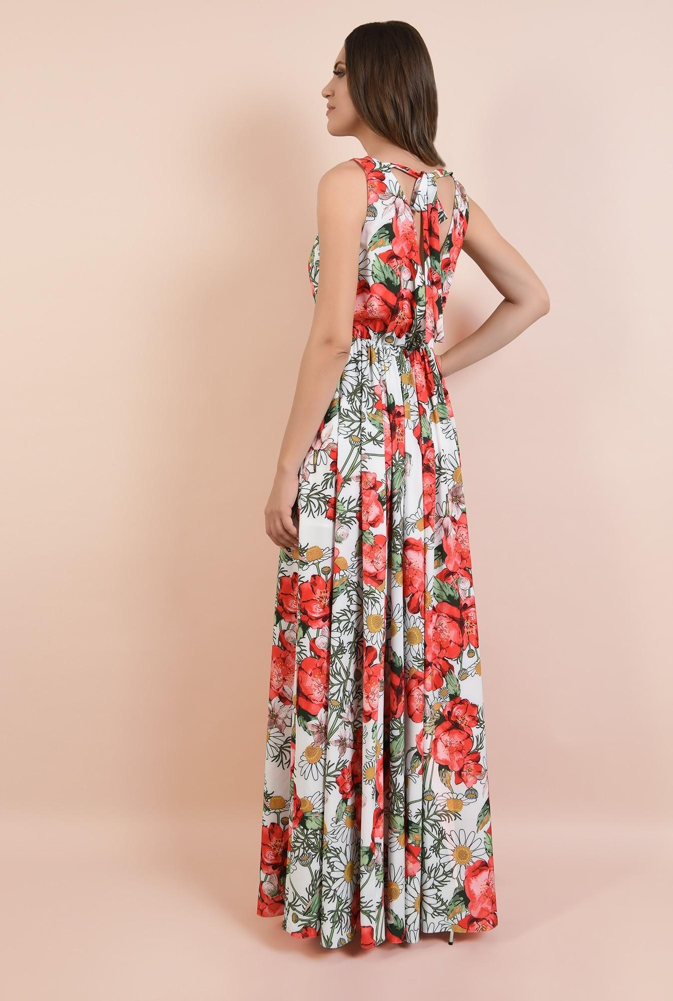 1 - rochie de seara, cu crapeu, imprimeu floral, decolteu in V, Poema
