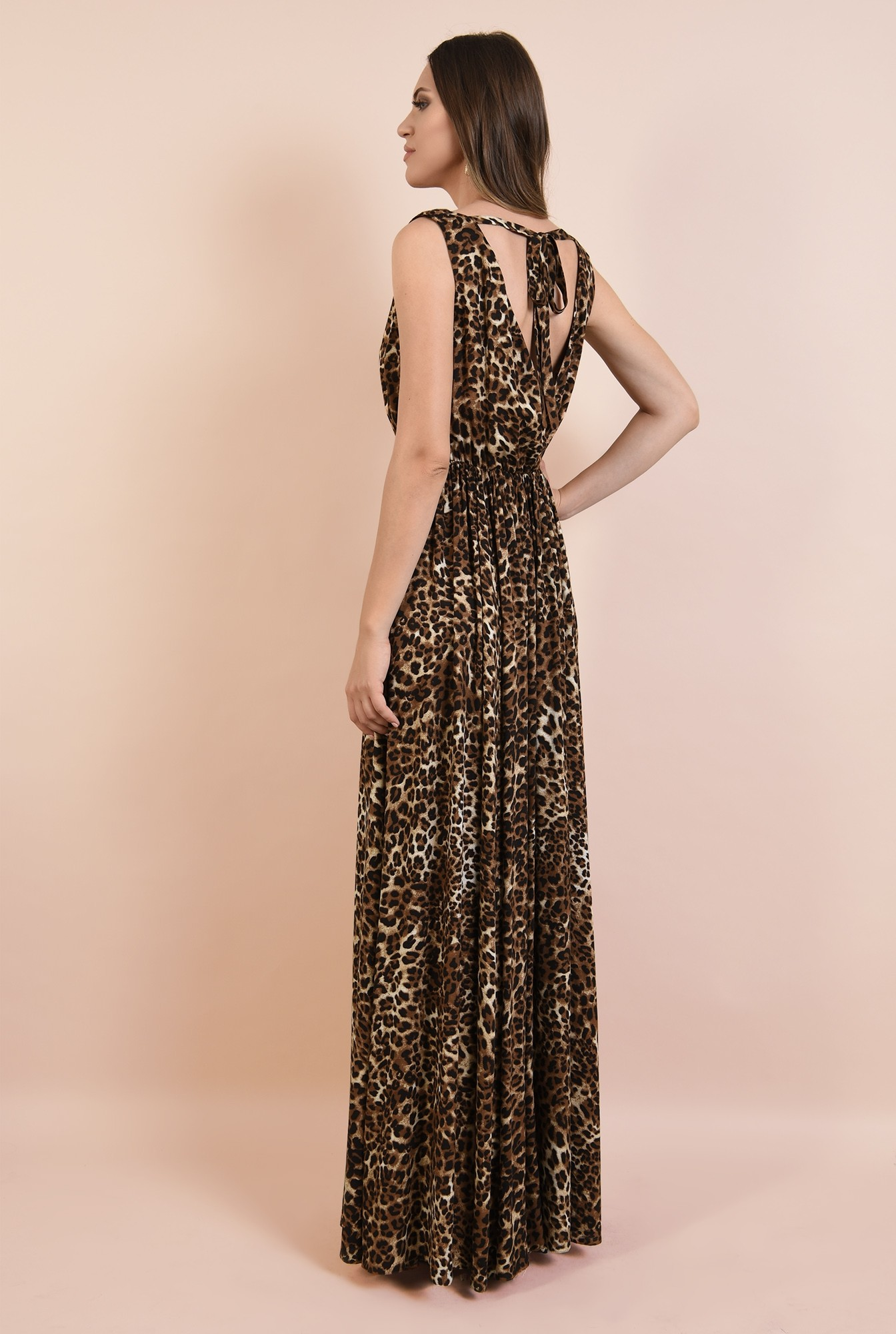 1 - rochie de ocazie, cu imprimeu leopard, maxi, evazata, cu crapeu, funda la spate