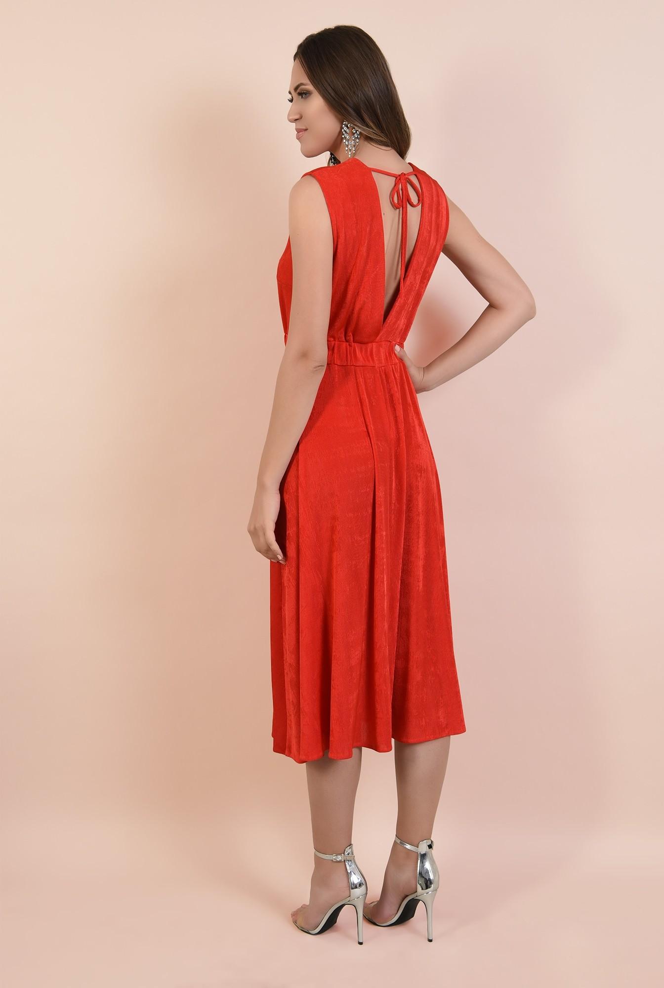 1 - rochie de seara, rosie, midi, evazata, spate cu snur, decolteu anchior petrecut