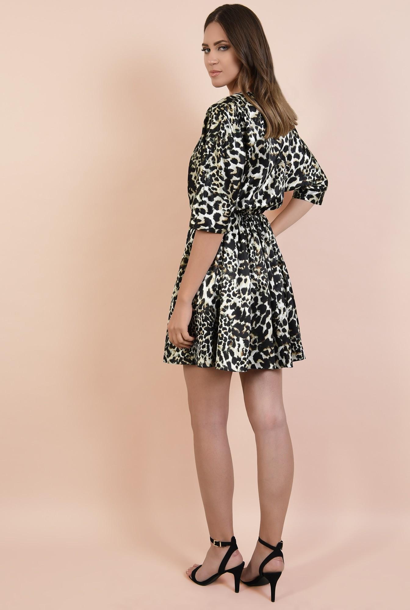 1 - rochie eleganta, din satin, anchior petrecut, maneci conice, clos, Poema