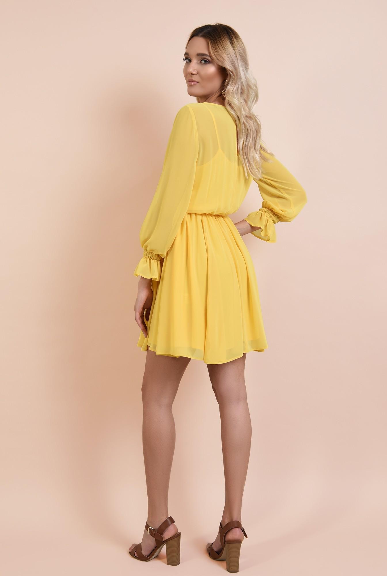 1 - rochie casual, de vara, de zi, galbena, din sifon creponat, clos, maneci lungi