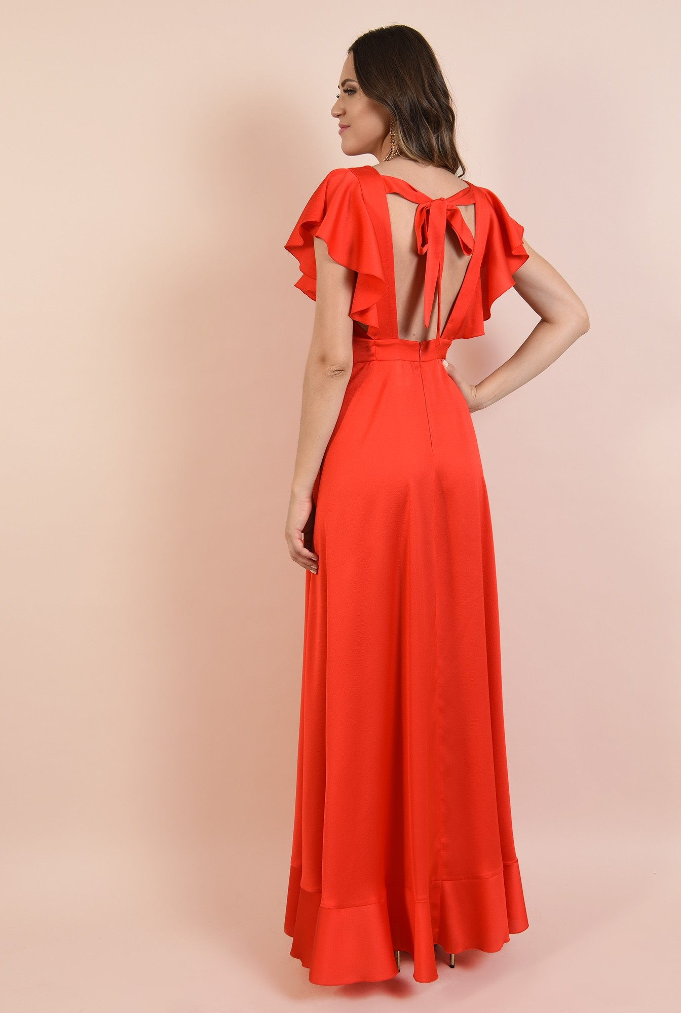 1 - 360 - rochie de ocazie, lunga, rosie, corai, Poema, volane, funda la spate