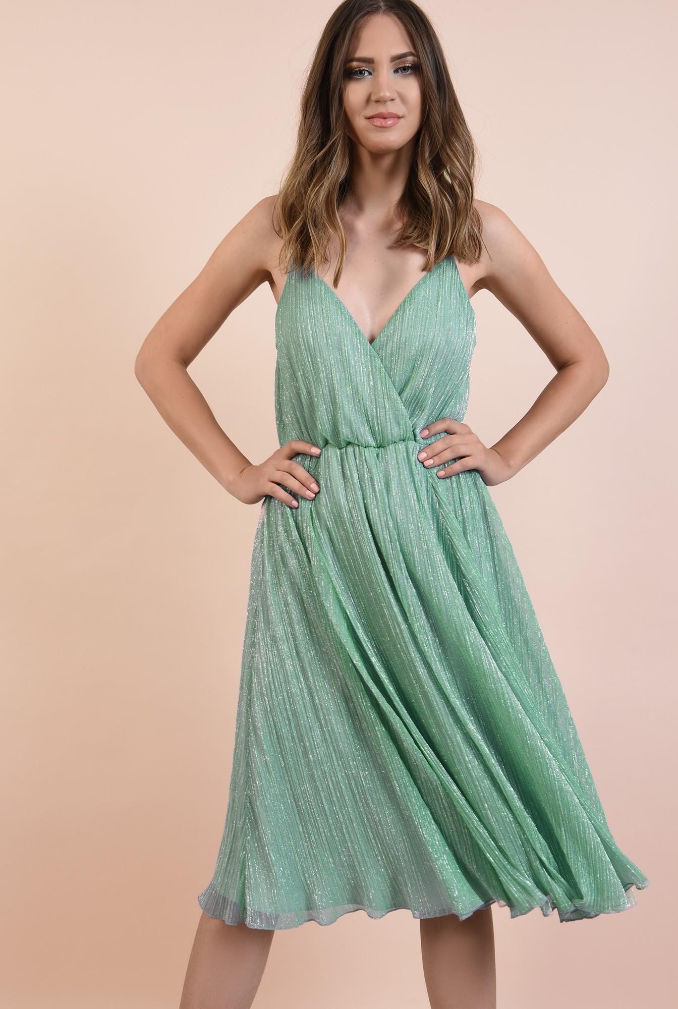 2 - rochie de seara, din lurex, evazata, cu bretele spaghetti, decolteu in V, Poema