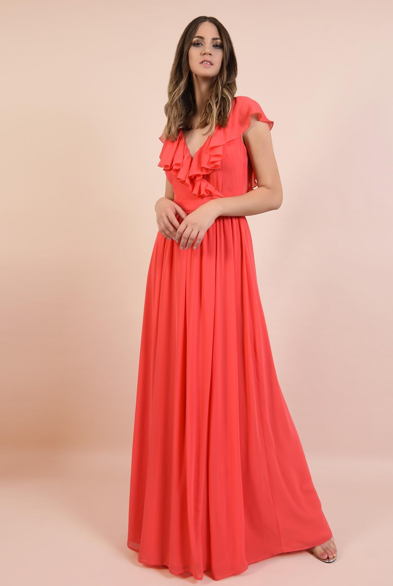 0 - 360 - rochie eleganta, lunga, evazata, cu anchior, cu volane, Poema