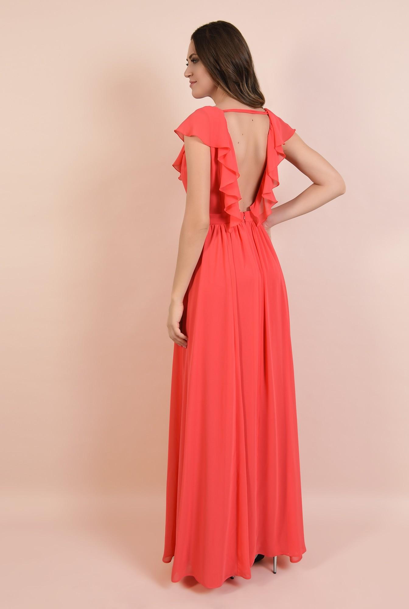 1 - 360 - rochie eleganta, lunga, evazata, cu anchior, cu volane, Poema