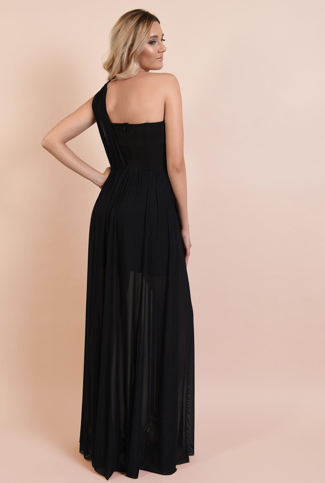 1 - rochie eleganta, decolteu inima, croi evazat, fusta transparenta