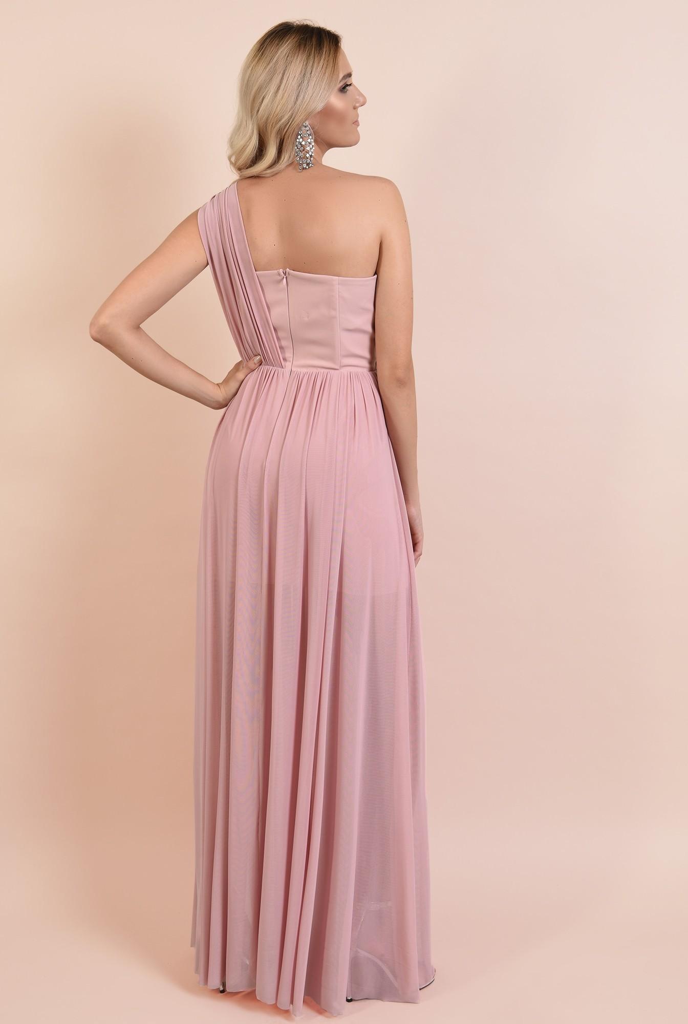 1 - rochie Poema, lunga, evazata, din tul, umar gol, fusta transparenta