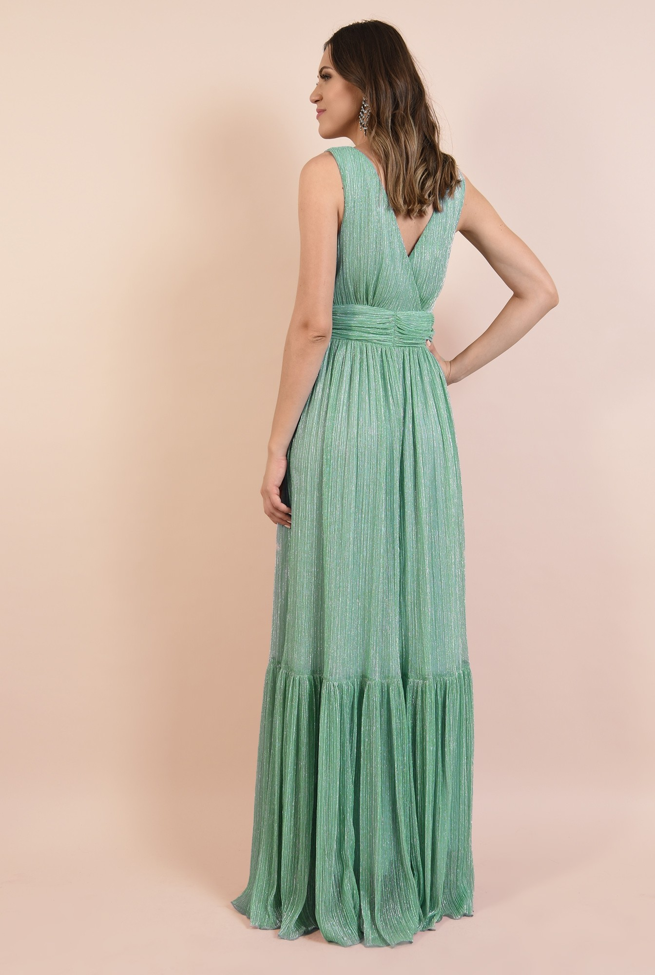1 - rochie de seara, lunga, lurex, verde menta, volan la baza, Poema