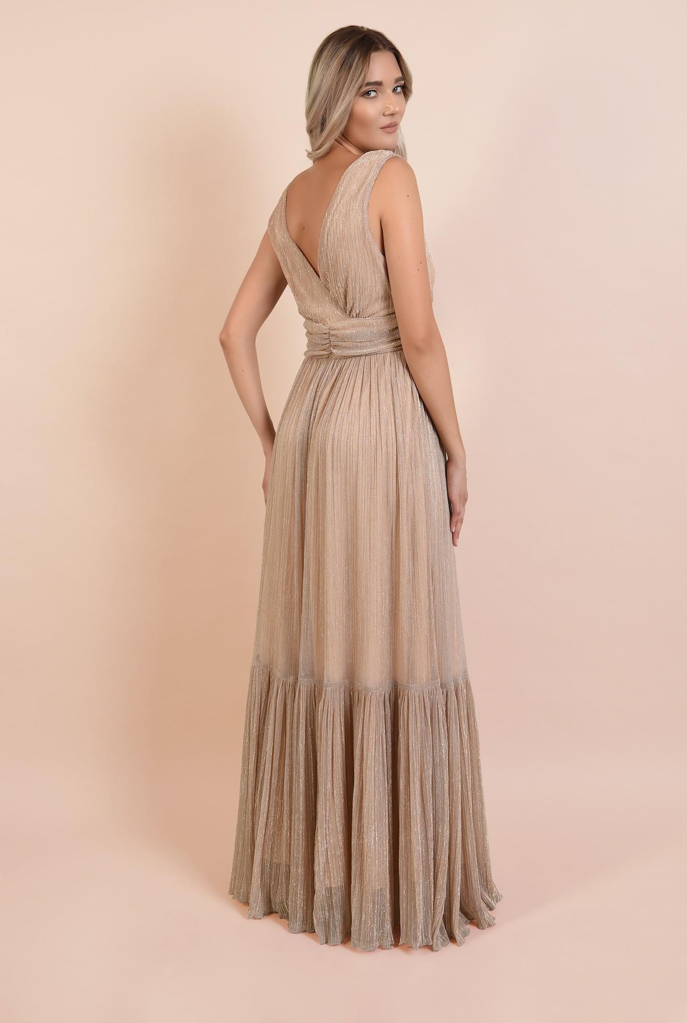 1 - 360 - rochie lunga, de seara, lurex, decolteu in V, betelie fronsata, Poema