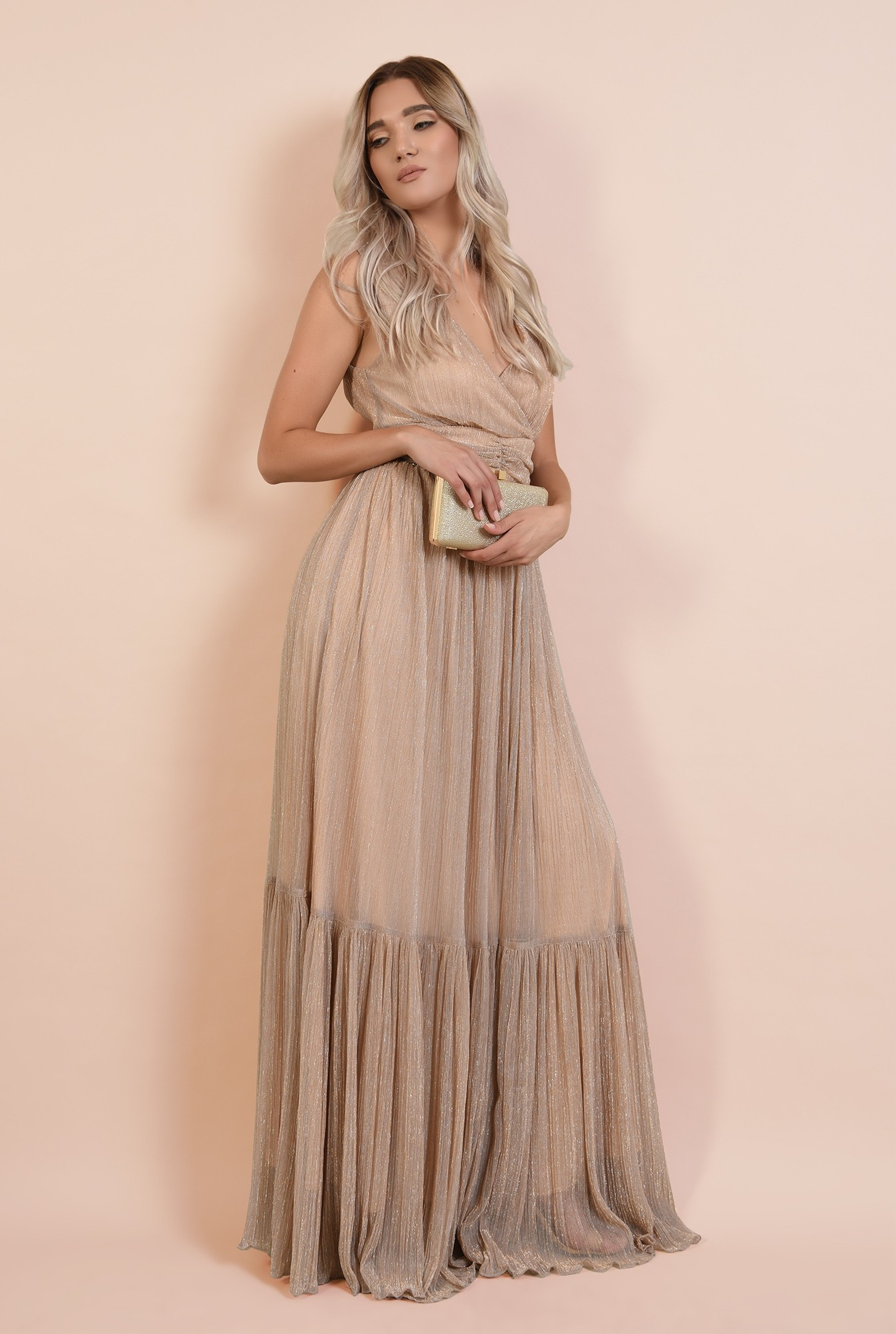 3 - 360 - rochie lunga, de seara, lurex, decolteu in V, betelie fronsata, Poema