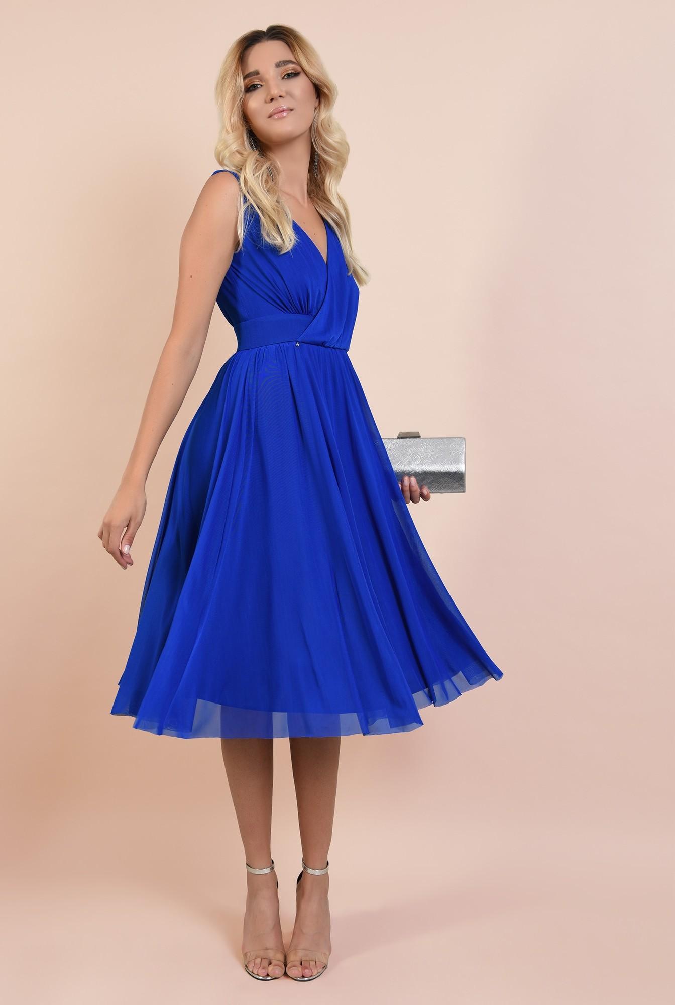 3 - rochie de seara, albastra, tul, decolteu petrecut, Poema, clos