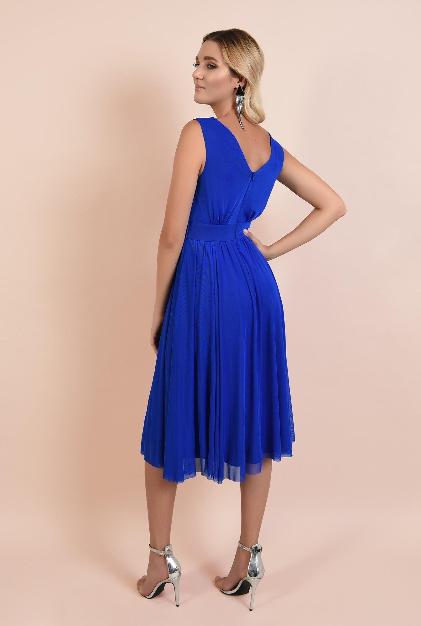 1 - rochie de seara, albastra, tul, decolteu petrecut, Poema, clos