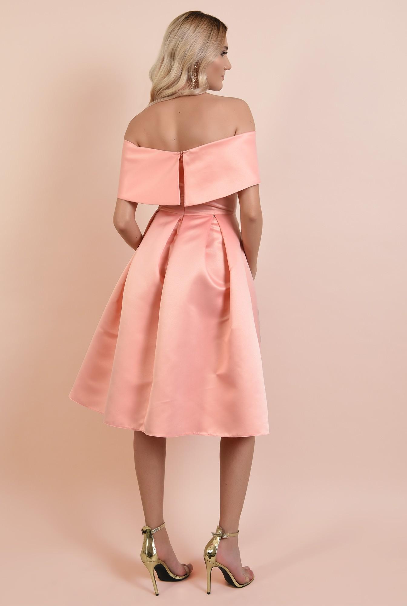 1 - 360 - rochie de ocazie, roz somon, midi, cu pliuri panou, Poema, umeri goi