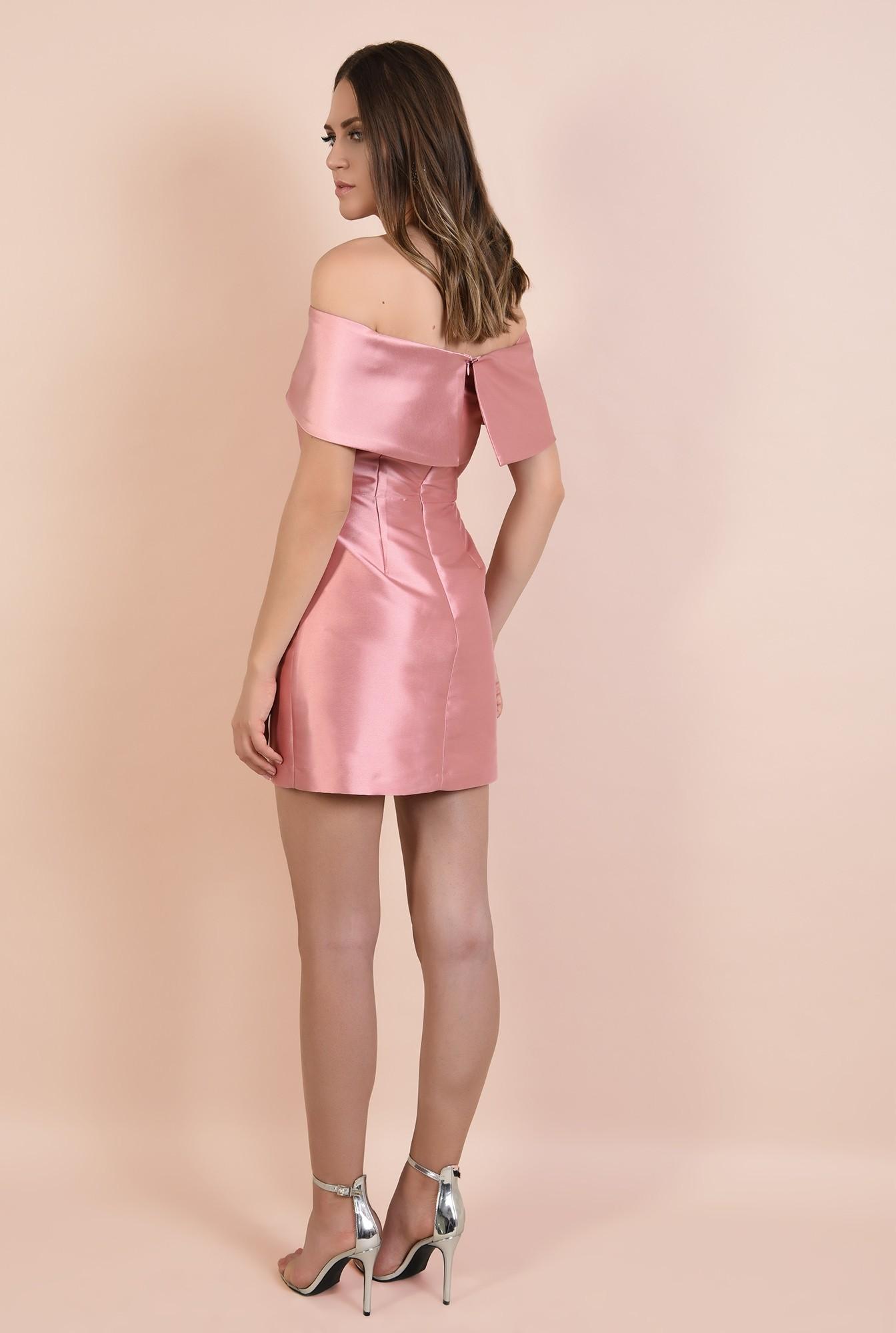 1 - 360 - rochie eleganta, mini, cu capa, umeri goi, croi cambrat, Poema