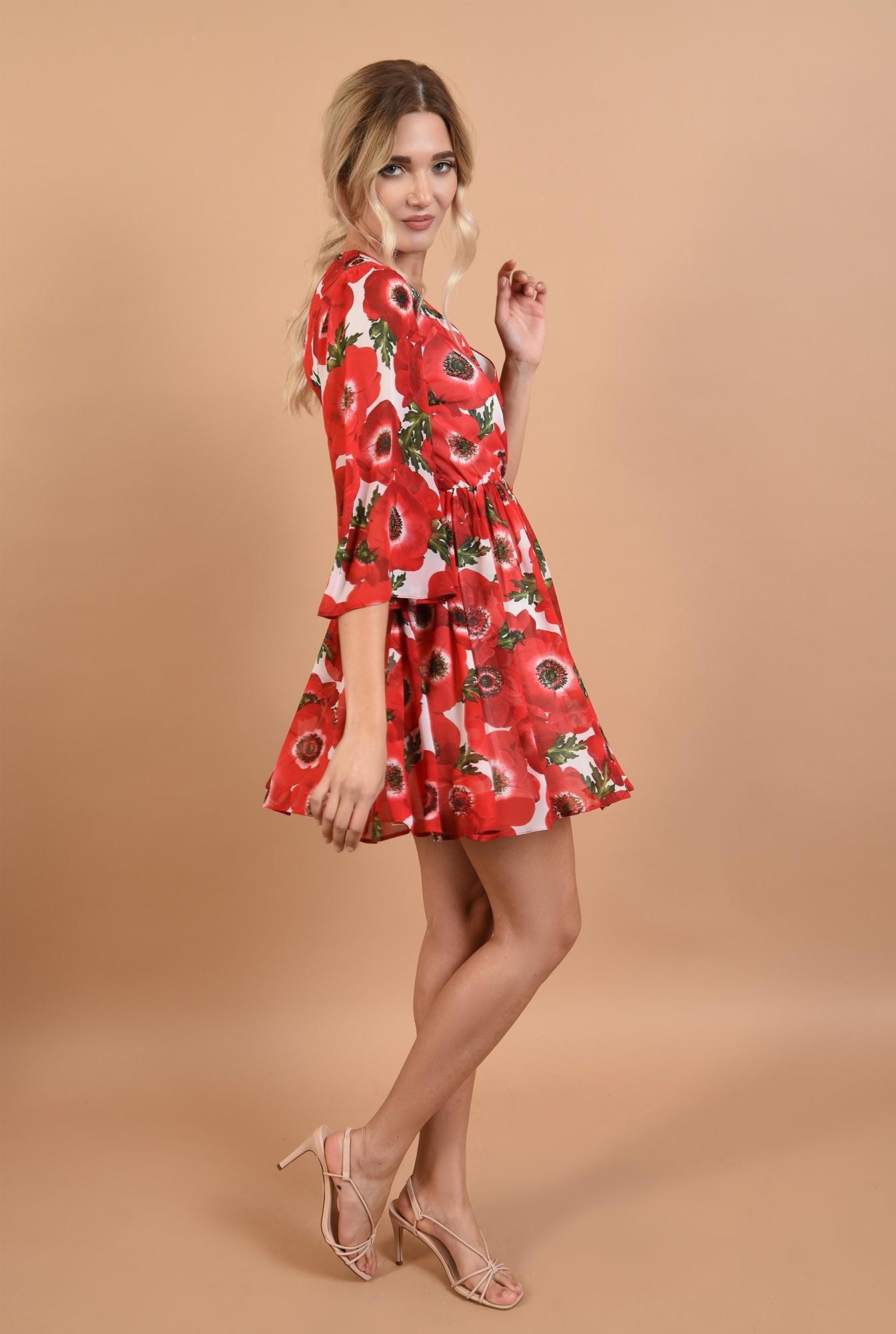 3 - 360 - rochie de zi, cu imprimeu, clos, talie pe elastic, anchior petrecut