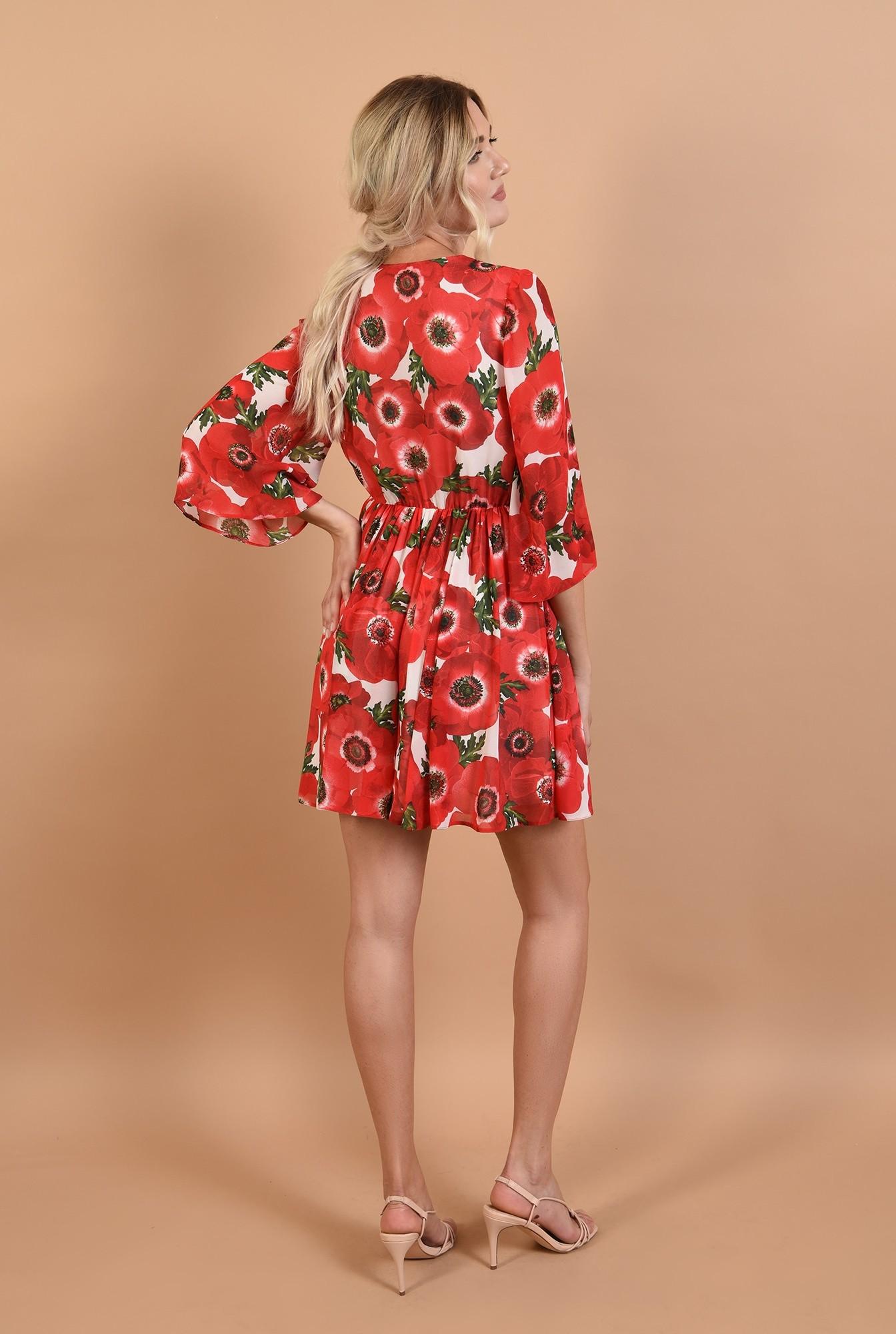 1 - 360 - rochie de zi, cu imprimeu, clos, talie pe elastic, anchior petrecut