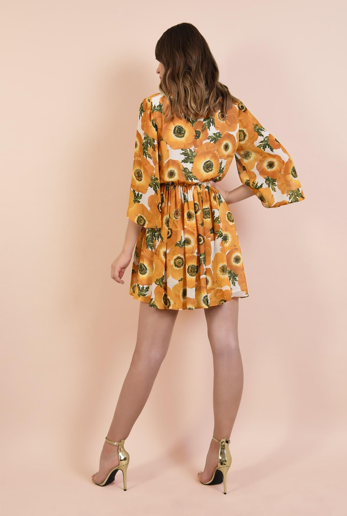 1 - 360 - rochie imprimata, casual, clos, talie pe elastic, motive florale