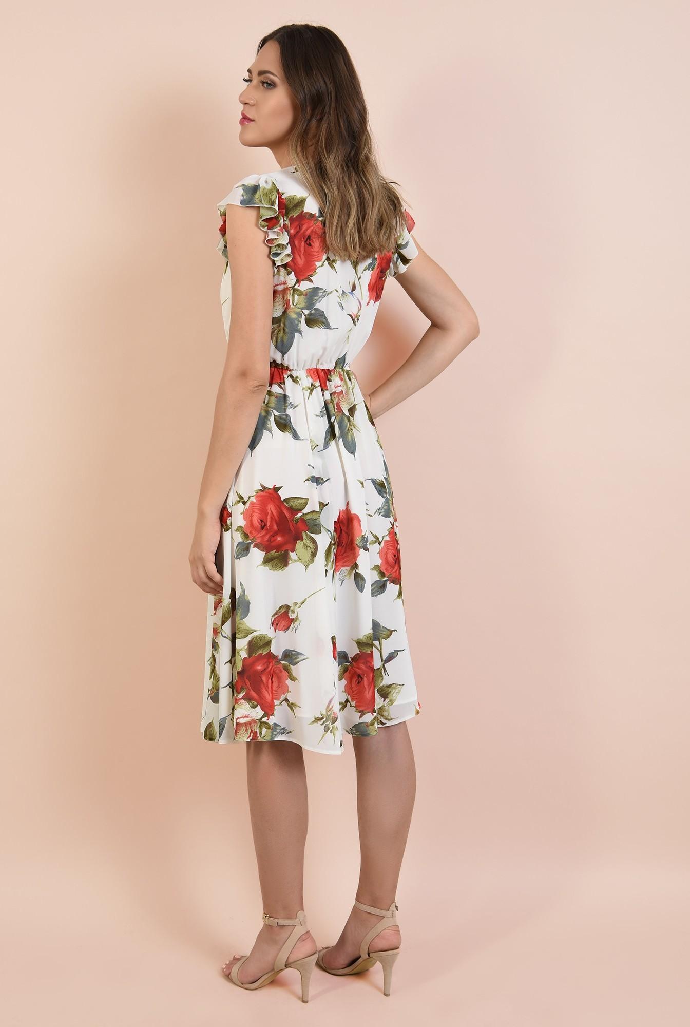1 - rochie cu flori, de vara, midi, clos, elastic la talie, maneci tip volan