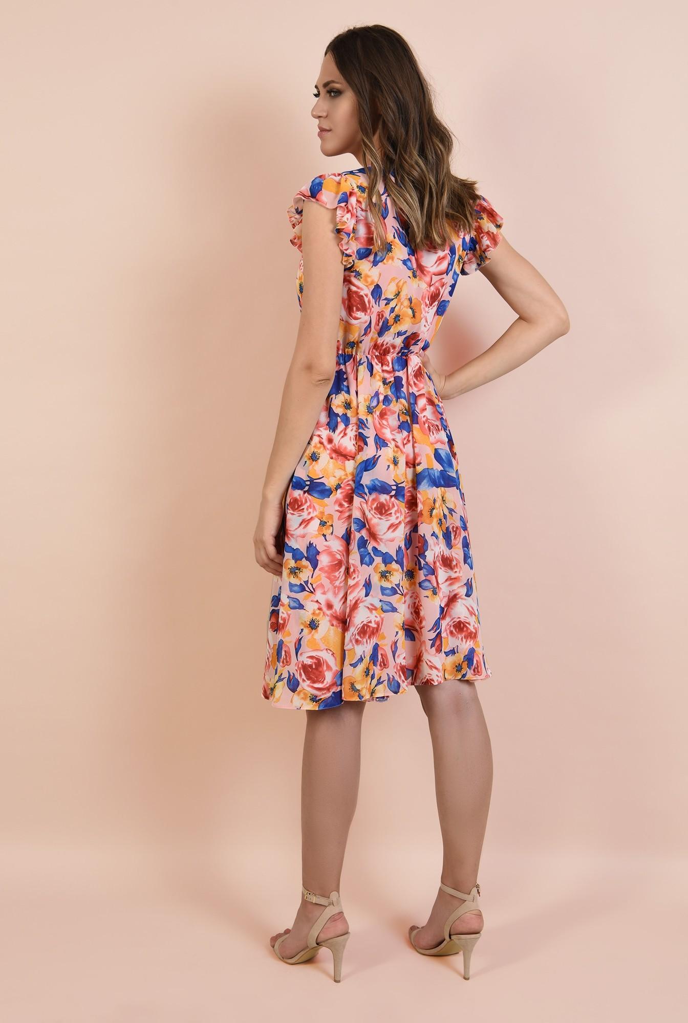 1 - rochie casual, evazata, midi, talie pe elastic, imprimeu floral, Poema