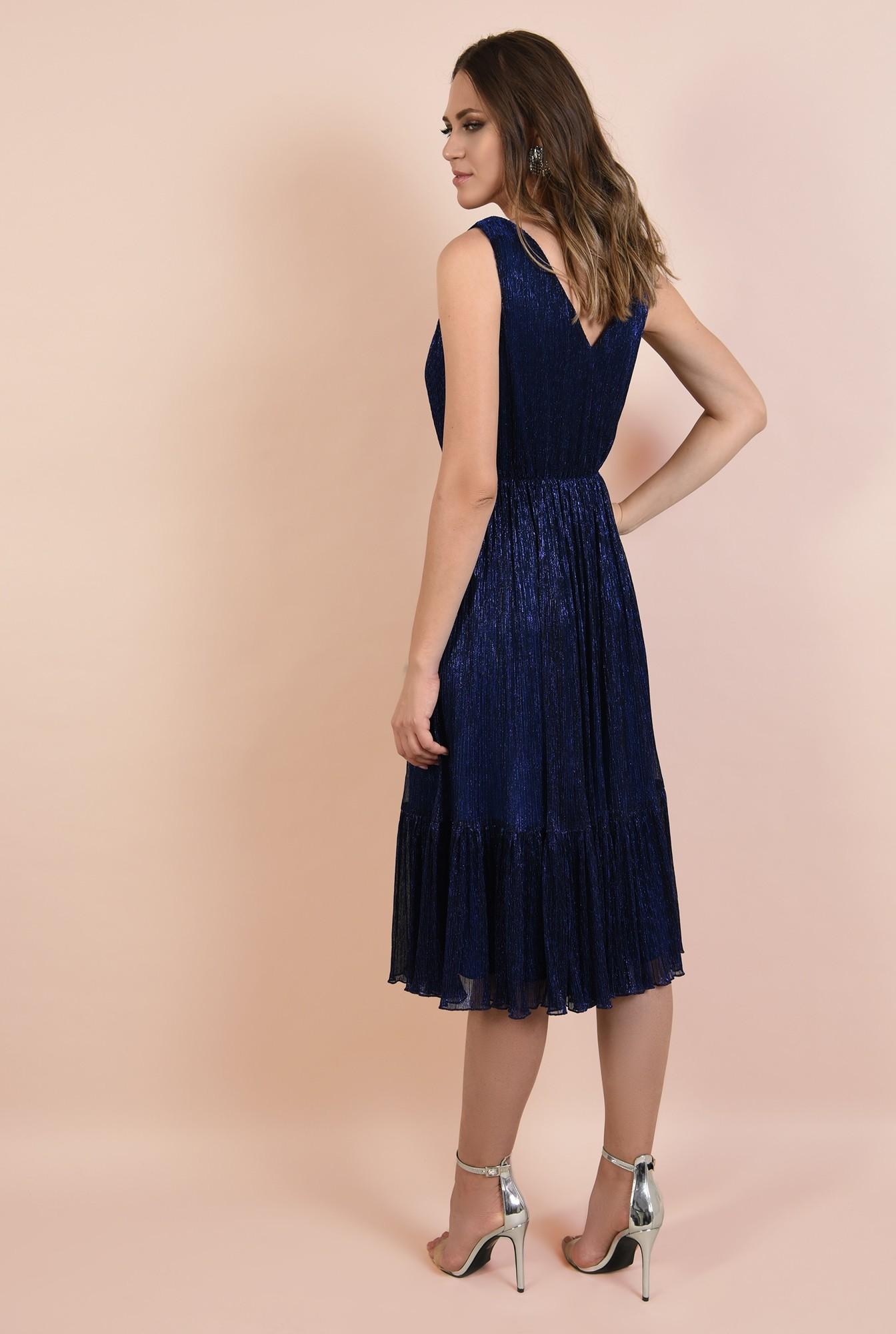 1 - rochie de seara, din lurex, elastic la talie, anchior petrecut, albastra, Poema