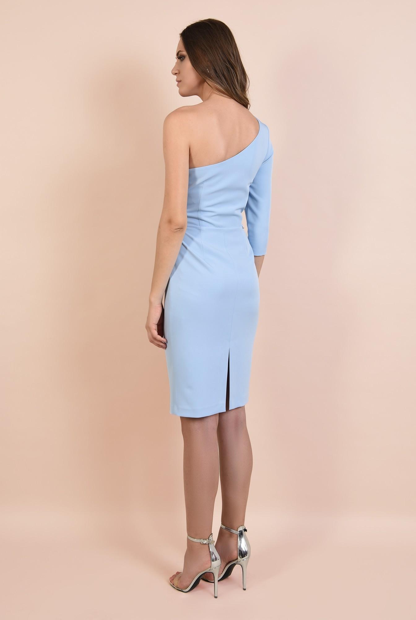 1 - rochie eleganta, midi, bleu, corset, decolteu de inima, conica