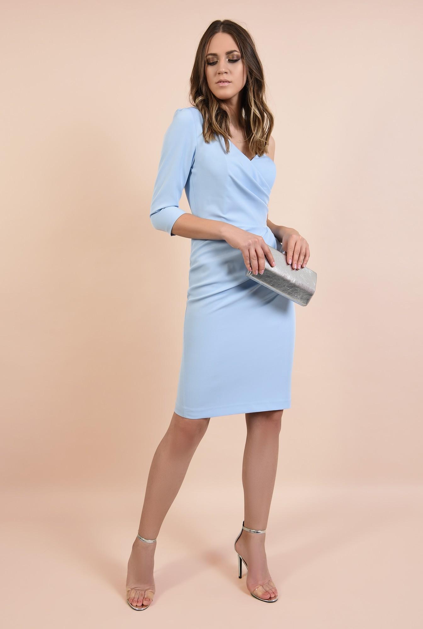 3 - rochie eleganta, midi, bleu, corset, decolteu de inima, conica