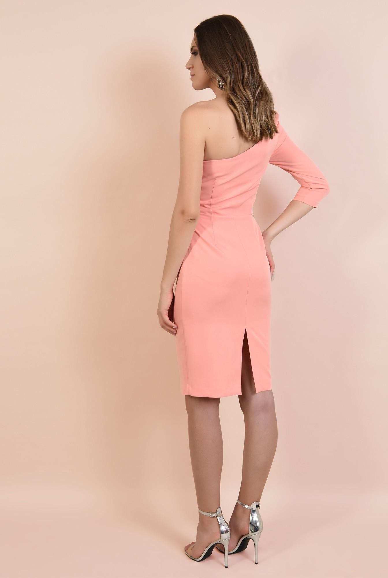 1 - rochie eleganta, decolteu inima, o maneca, croi conic, midi, Poema, roz somon