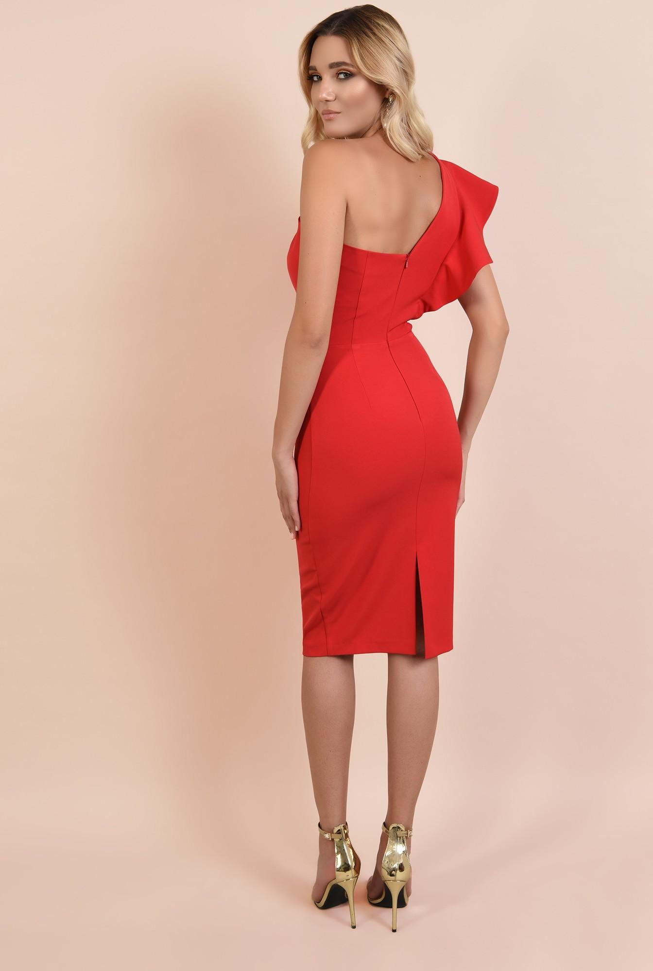 1 - 360 - rochie rosie, de ocazie, midi, conica, decolteu inima
