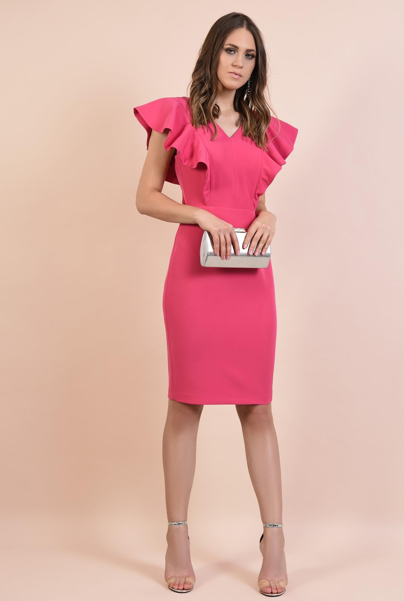 3 - rochie eleganta, ciclamen. midi, conica, decolteu anchior