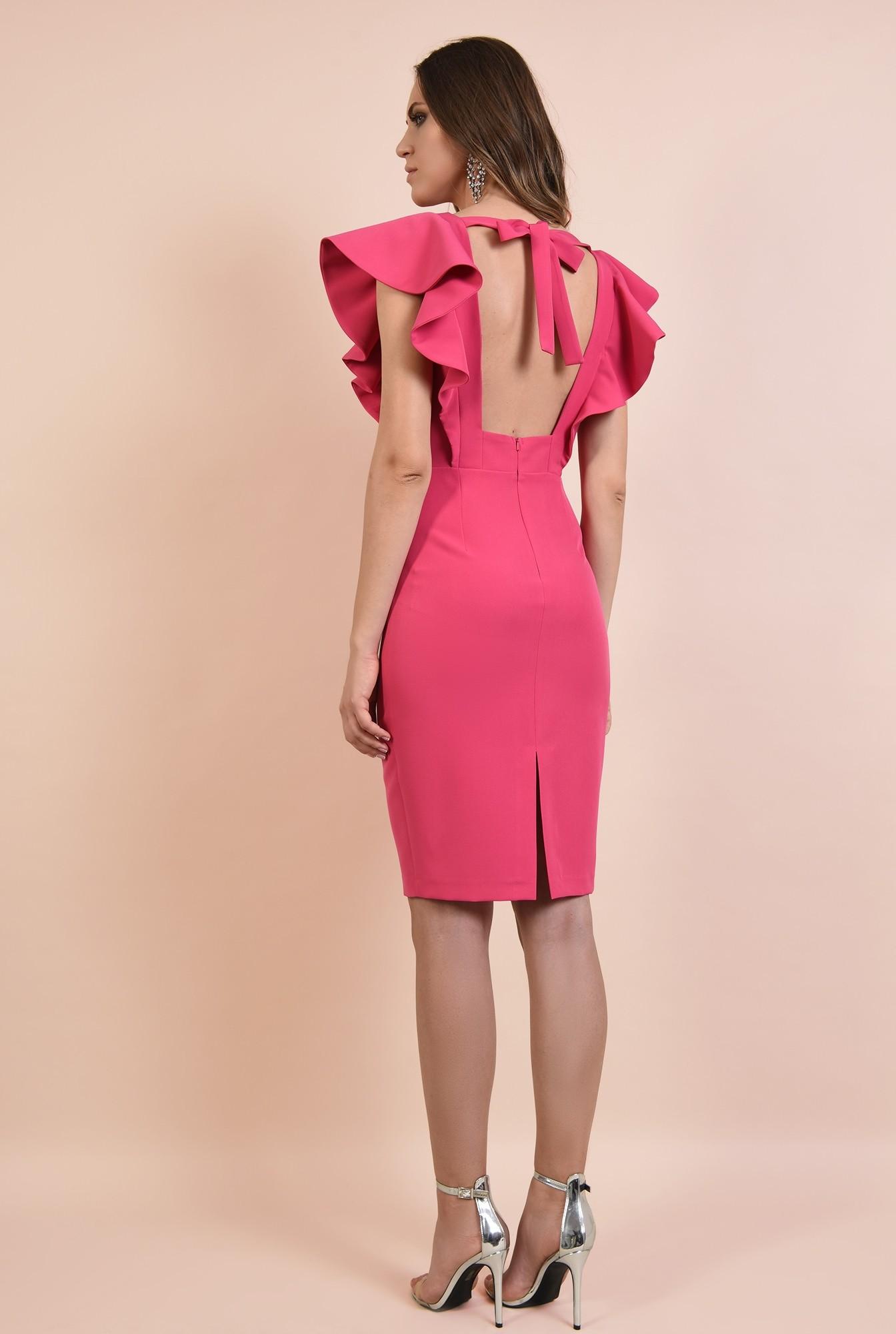1 - rochie eleganta, ciclamen. midi, conica, decolteu anchior