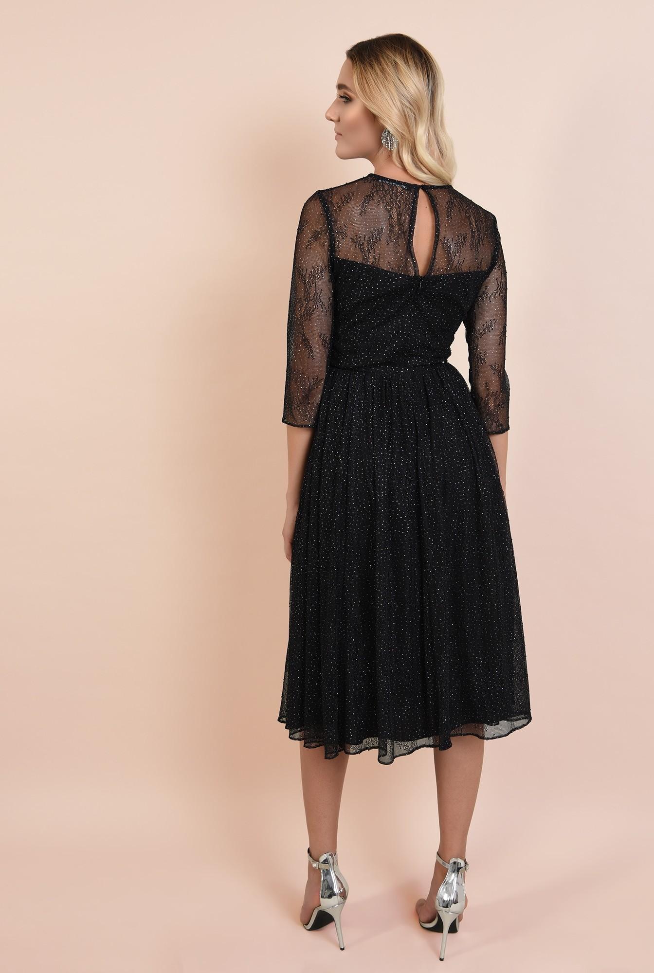 1 - rochie de seara, cu strasuri, broderie, maneci transparente, clos, Poema