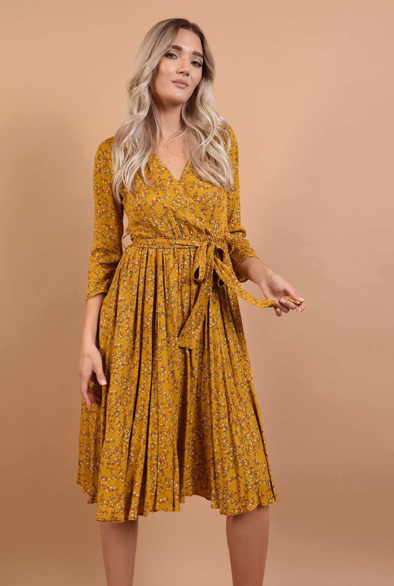 0 - 360 - rochie de toamna, imprimeu floral, mustar, cu cordon, decolteu in V