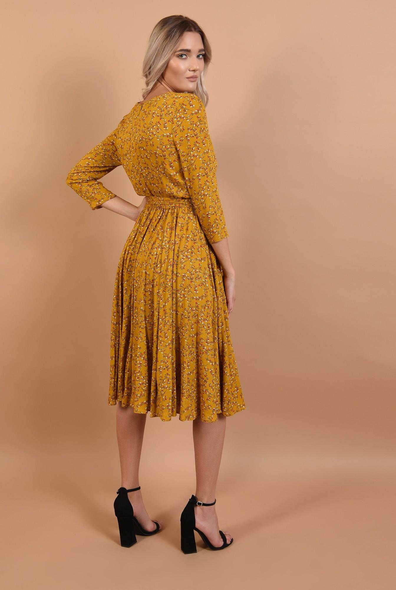 1 - 360 - rochie de toamna, imprimeu floral, mustar, cu cordon, decolteu in V