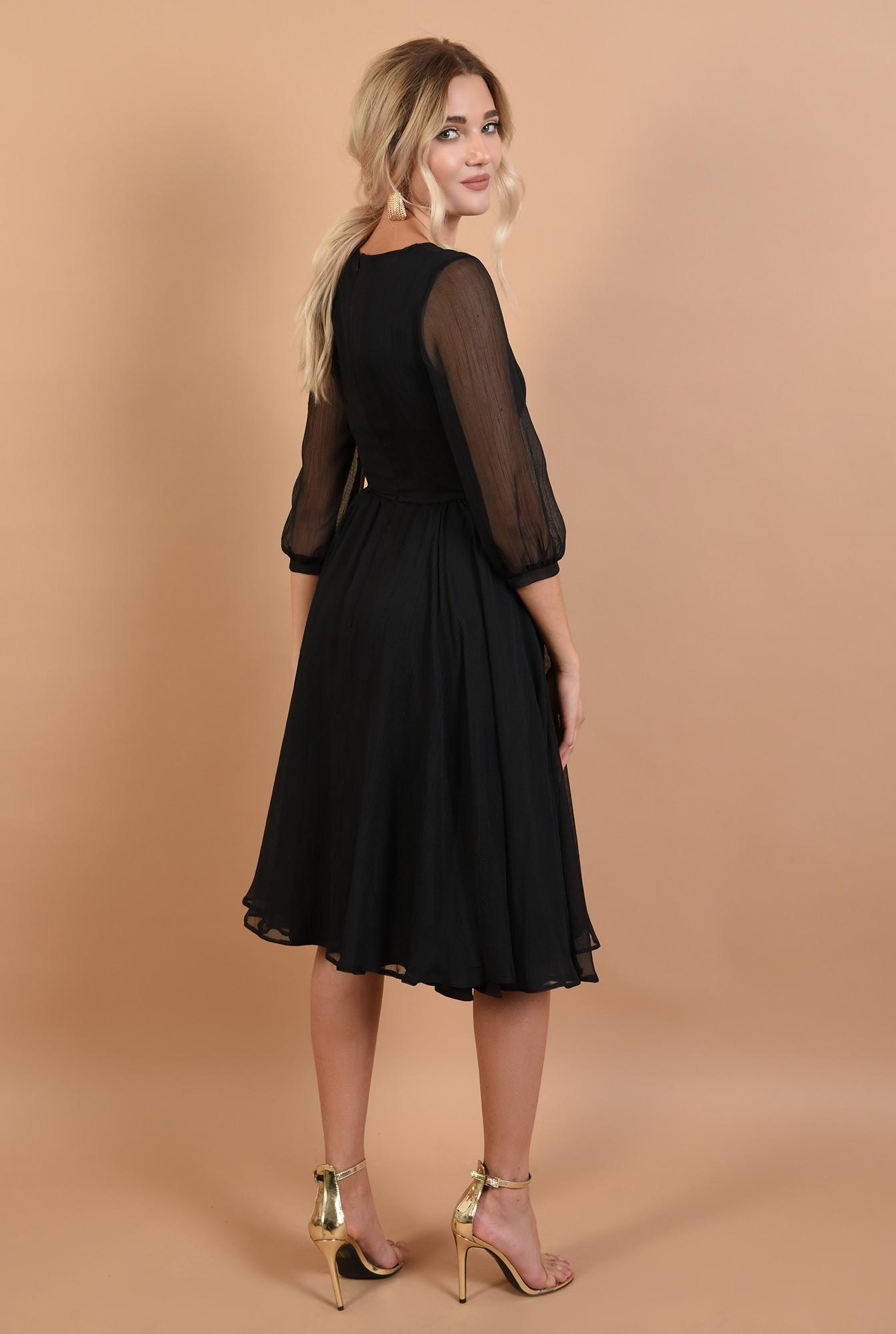1 - rochie de ocazie, neagra, decolteu la baza gatului, croi evazat, maneci bufante, Poema