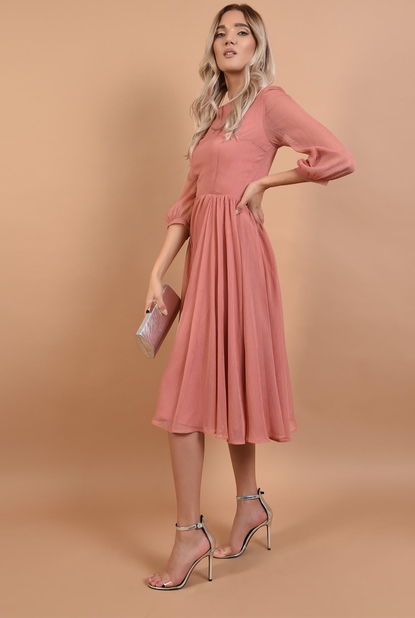 3 - rochie roz, de ocazie, midi, decolteu la baza gatului