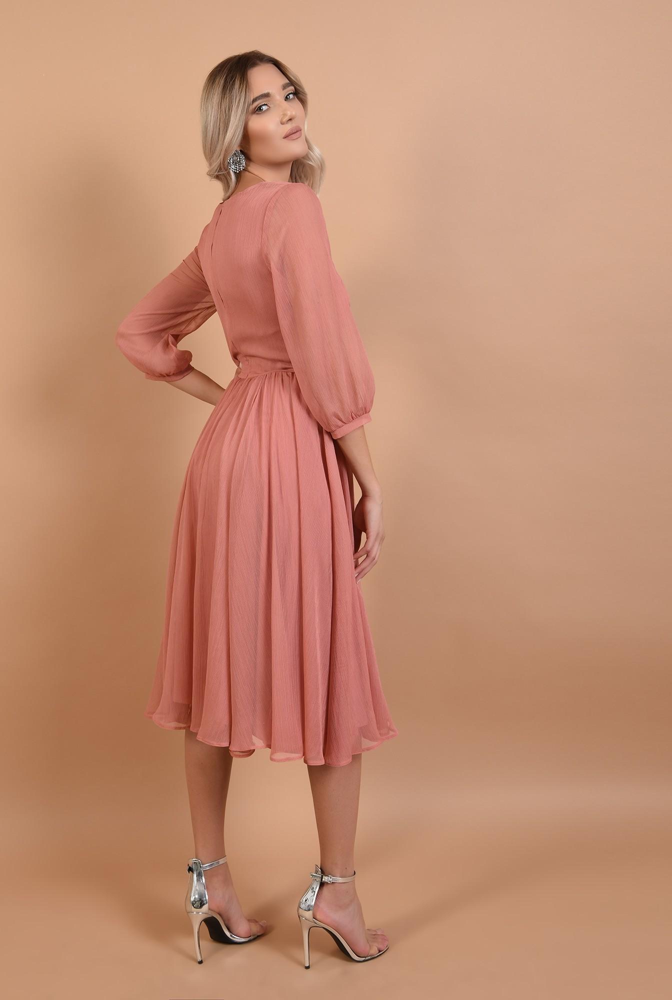 1 - rochie roz, de ocazie, midi, decolteu la baza gatului
