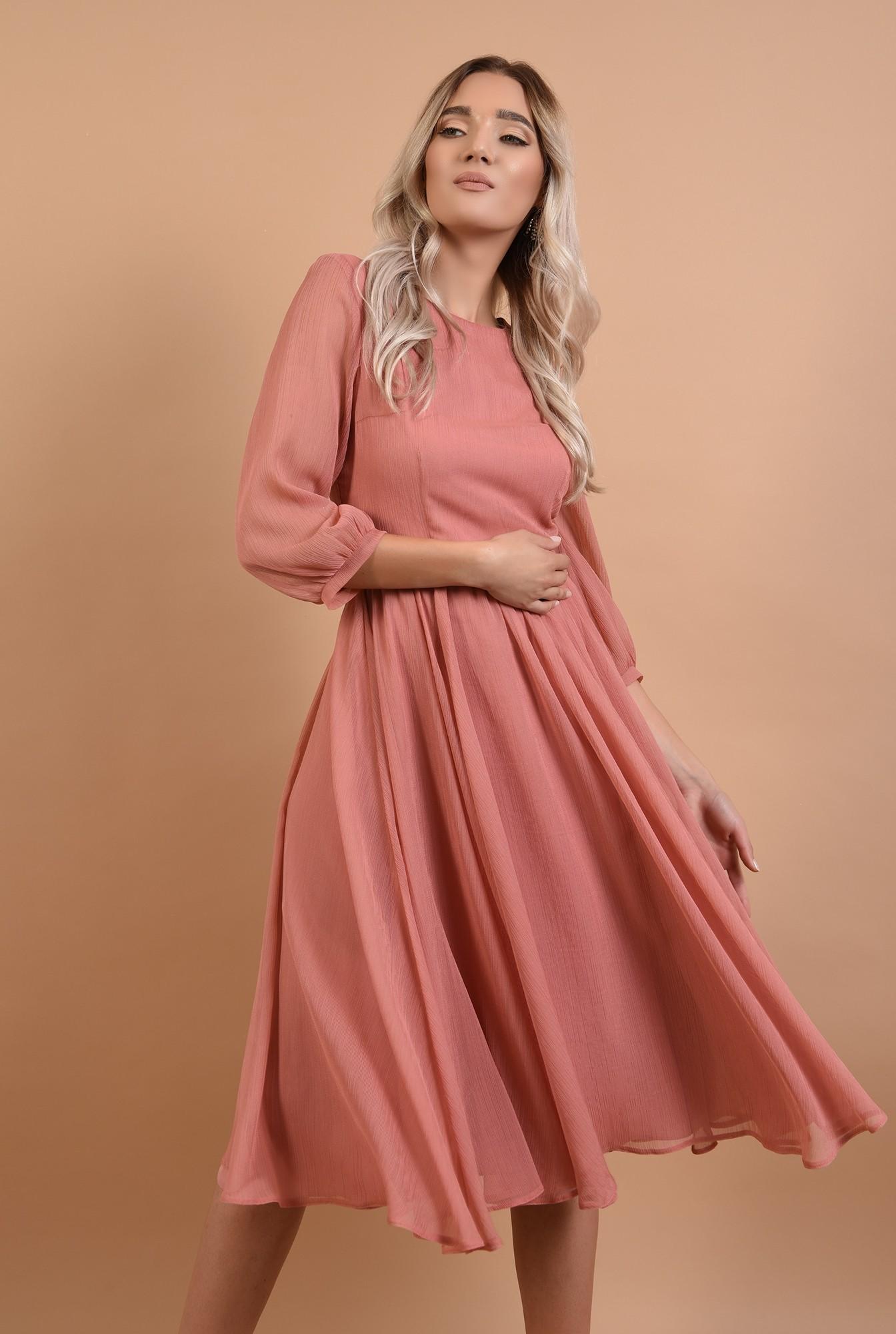 0 - rochie roz, de ocazie, midi, decolteu la baza gatului