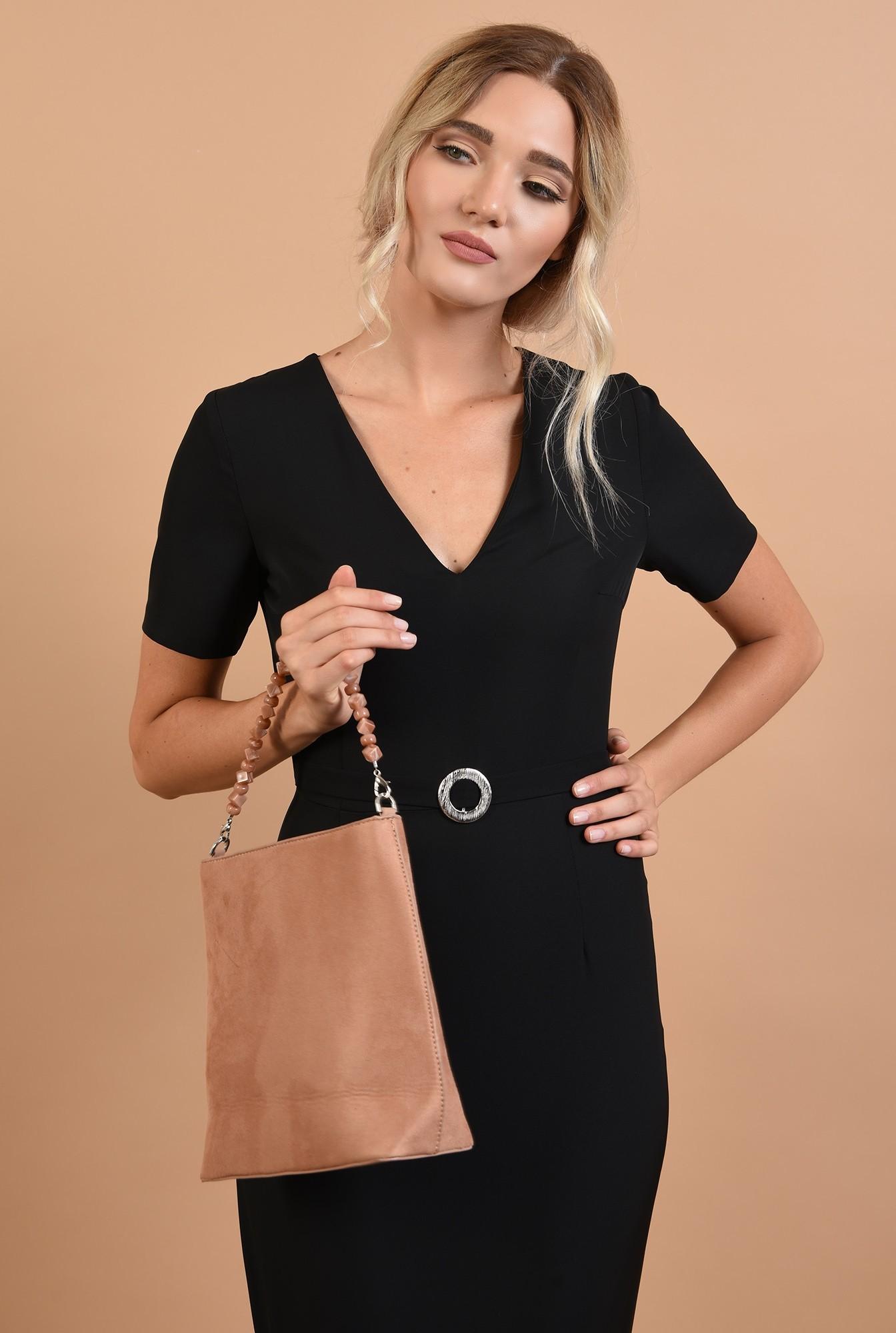 2 - rochie neagra, office, midi,croi conic, curea textila, decolteu in V, Poema