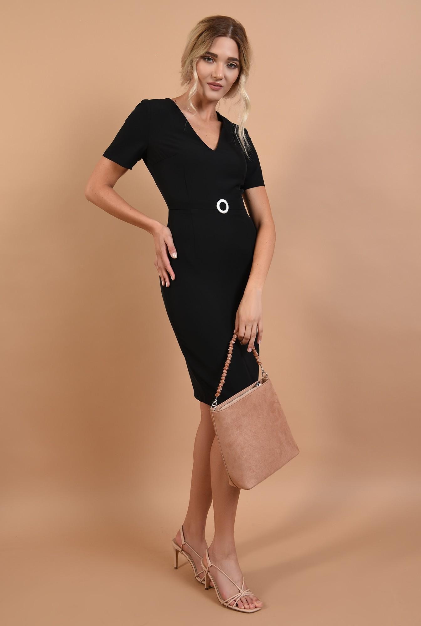 3 - rochie neagra, office, midi,croi conic, curea textila, decolteu in V, Poema