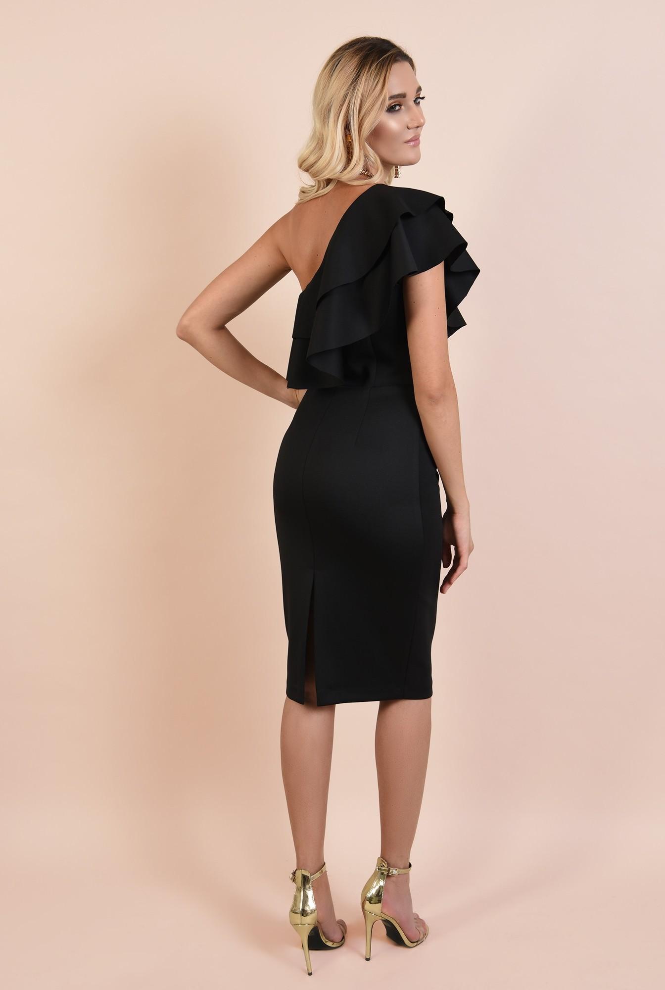 1 - rochie eleganta, midi, neagra, conica, volane nefinisate