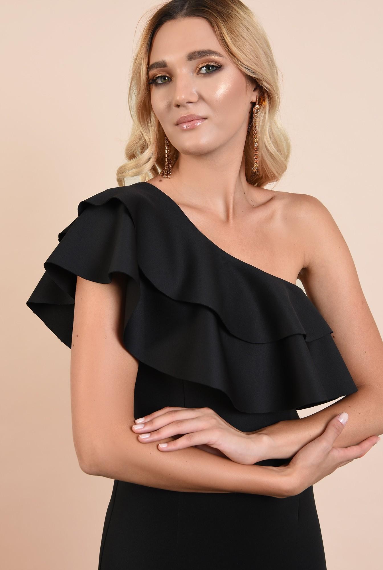 2 - rochie eleganta, midi, neagra, conica, volane nefinisate