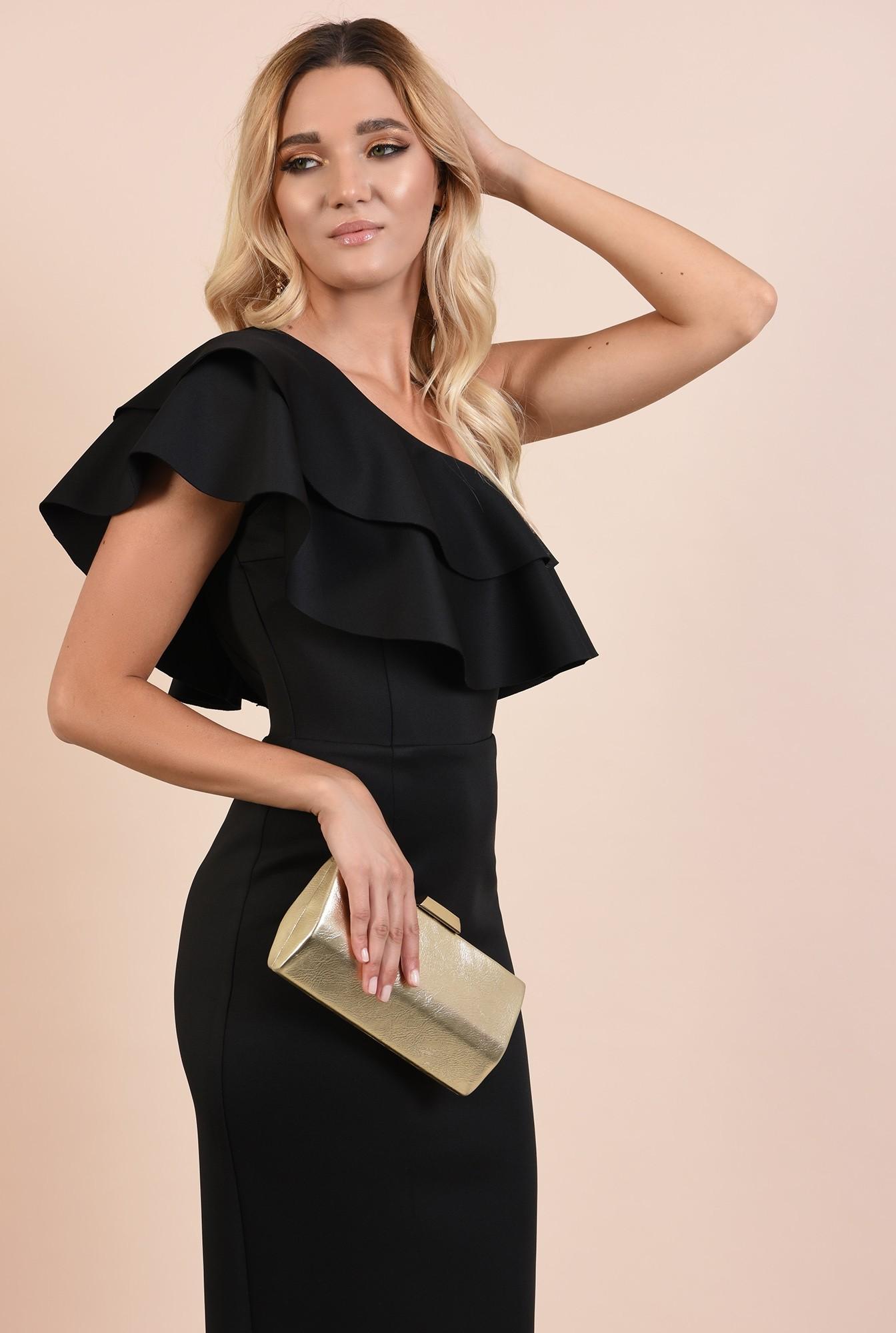 0 - rochie eleganta, midi, neagra, conica, volane nefinisate