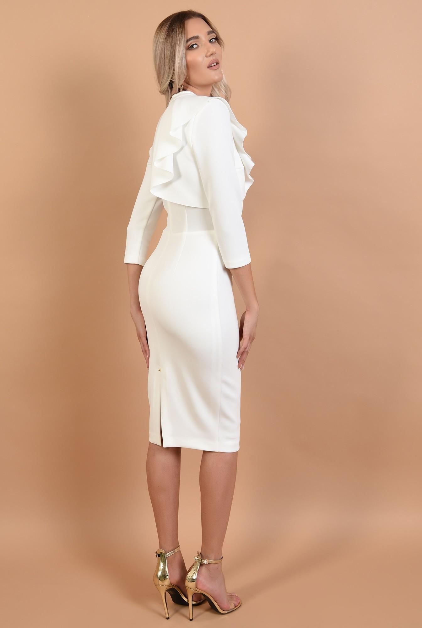 1 - 360 - rochie conica, alba, midi, aplicatie cu pliuri, guler inalt, Poema