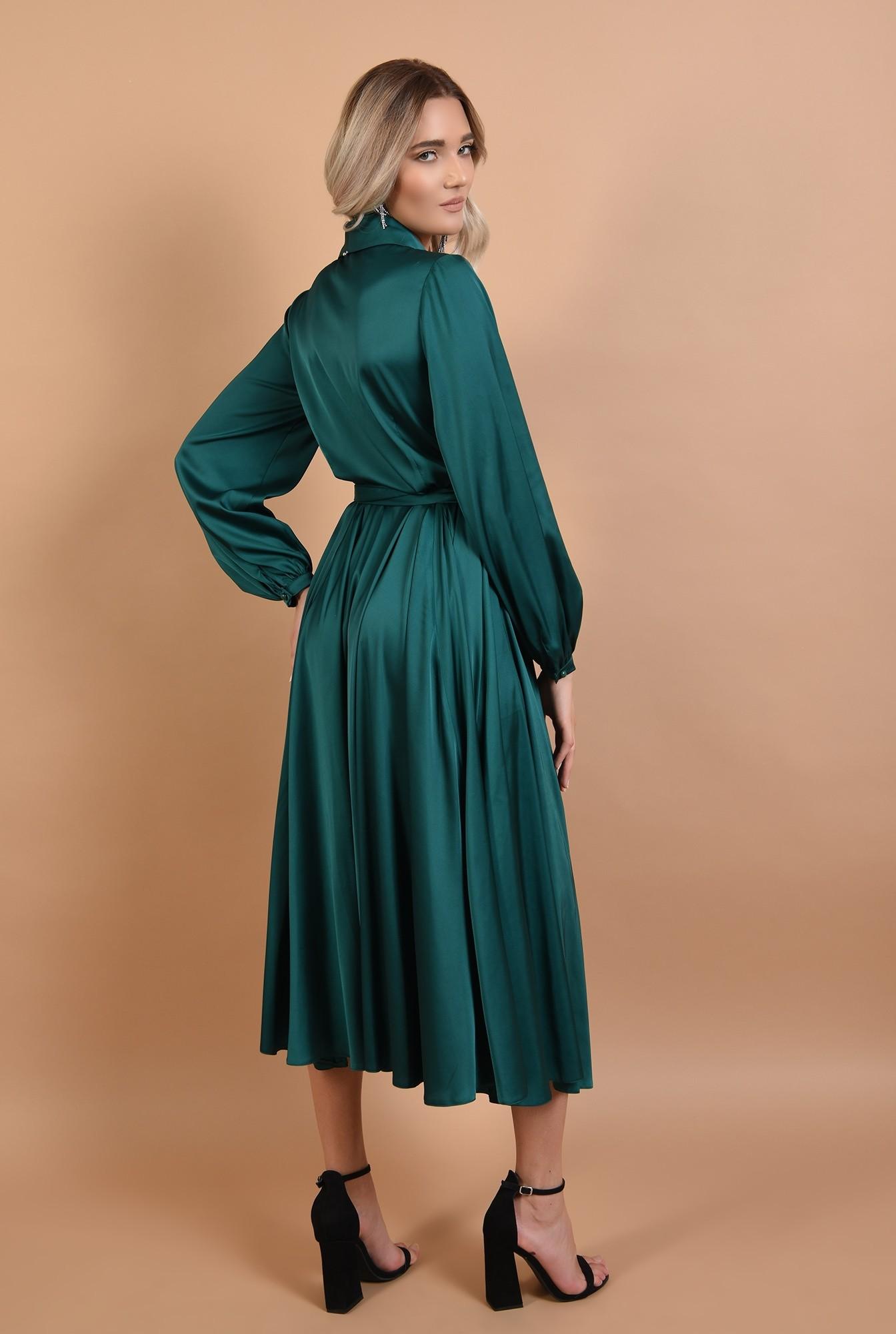 1 - rochie Poema, midi, de seara, din satin, anchior cu revere, cordon